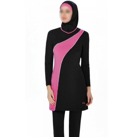 BURKINI LYCRA NOIR & ROSE